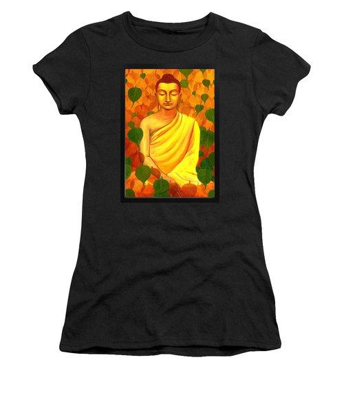 Buddha In Green Leaves Women's T-Shirt