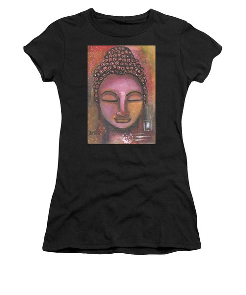 Women's T-Shirt (Athletic Fit) featuring the mixed media Buddha In Shades Of Purple by Prerna Poojara