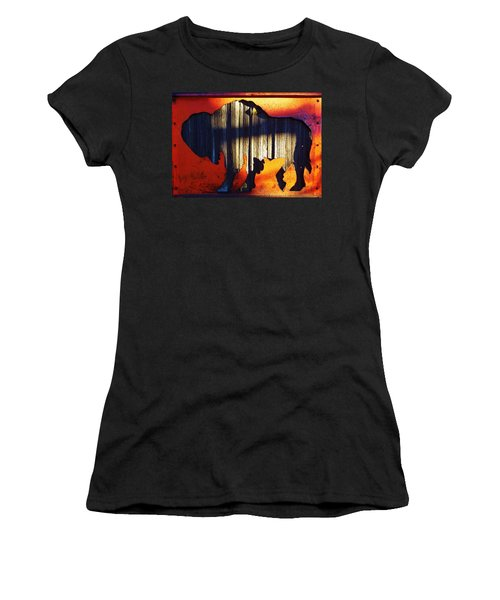 Women's T-Shirt (Athletic Fit) featuring the photograph Wooden Buffalo 4  by Larry Campbell