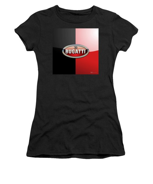 Bugatti 3 D Badge On Red And Black  Women's T-Shirt