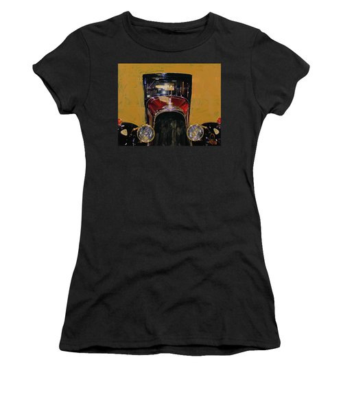 Women's T-Shirt (Junior Cut) featuring the photograph Bugatti Vintage Maroon by Walter Fahmy