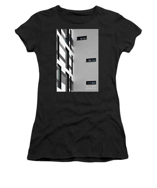 Women's T-Shirt (Athletic Fit) featuring the photograph Building Block - Black And White by Wendy Wilton