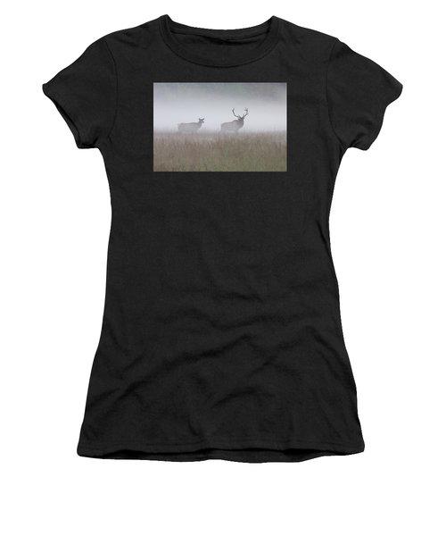 Bull And Cow Elk In Fog - September 30 2016 Women's T-Shirt