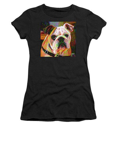 Bulldog Surreal Deep Dream Image Women's T-Shirt (Junior Cut) by Matthias Hauser