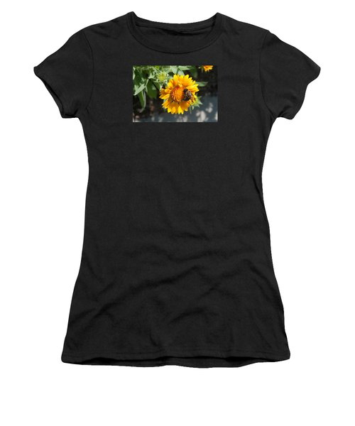 Bumble Bee Collecting Pollen On Sunflower Women's T-Shirt (Athletic Fit)