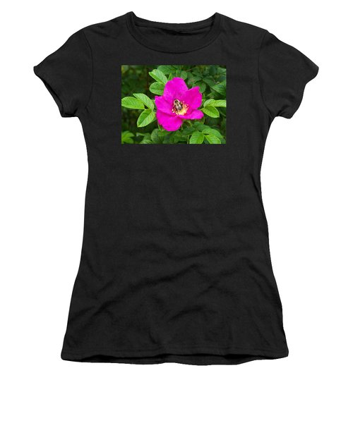 Bumble Bee On A Wild Rose Women's T-Shirt (Junior Cut) by Joy Nichols