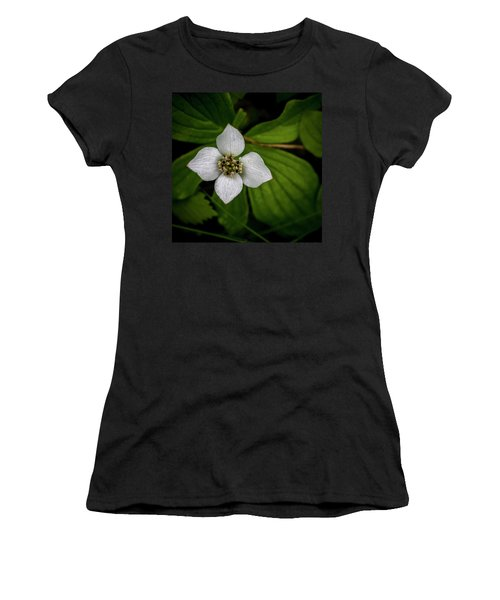 Women's T-Shirt (Junior Cut) featuring the photograph Bunchberry Dogwood On Gloomy Day by Darcy Michaelchuk