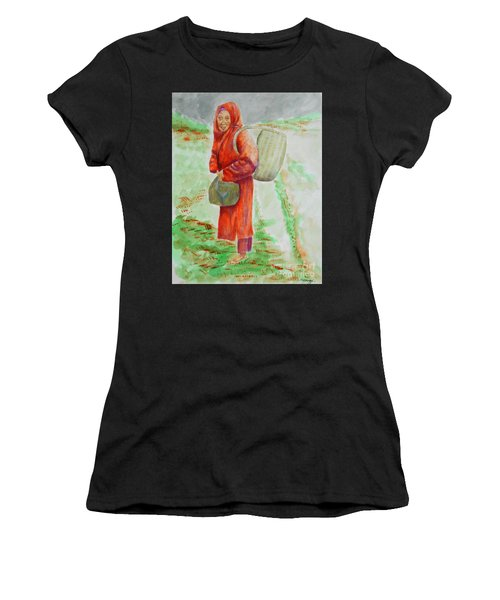 Bundled And Barefoot -- Portrait Of Old Asian Woman Outdoors Women's T-Shirt (Athletic Fit)