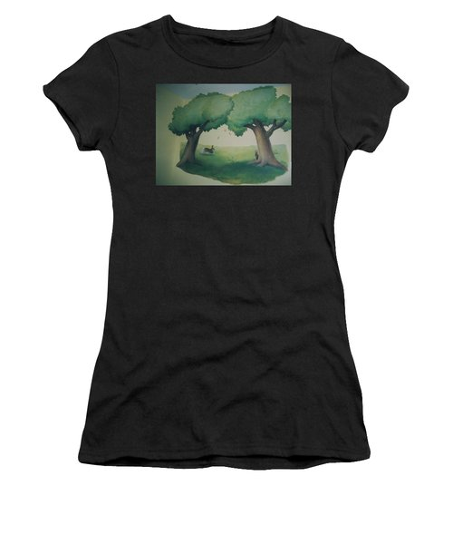 Bunnies Running Under Trees Women's T-Shirt (Athletic Fit)