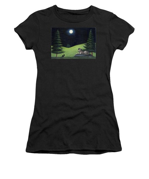 Bunny Visits Wolf Women's T-Shirt (Athletic Fit)