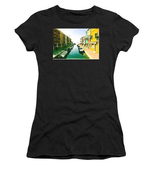 Women's T-Shirt (Junior Cut) featuring the digital art Burano Venice by Kai Saarto