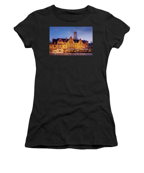 Women's T-Shirt featuring the photograph Burg Square Architecture At Night - Bruges by Barry O Carroll