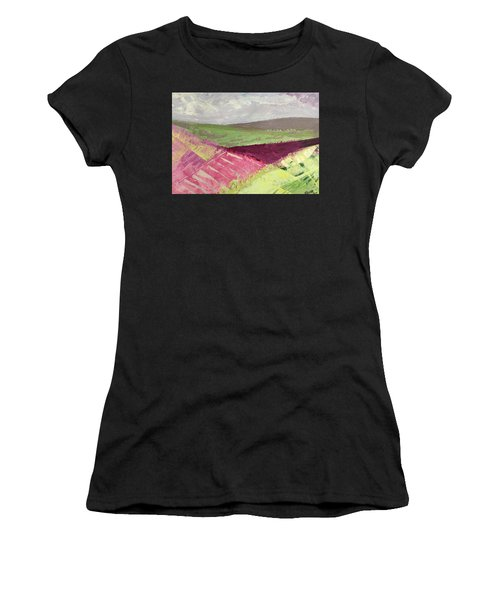 Burgundy Fields Women's T-Shirt (Athletic Fit)