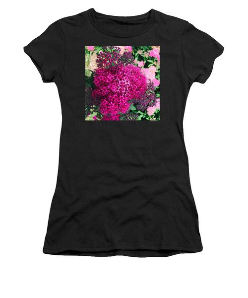 Women's T-Shirt featuring the painting Burst Of Pink Delight by Marian Palucci-Lonzetta