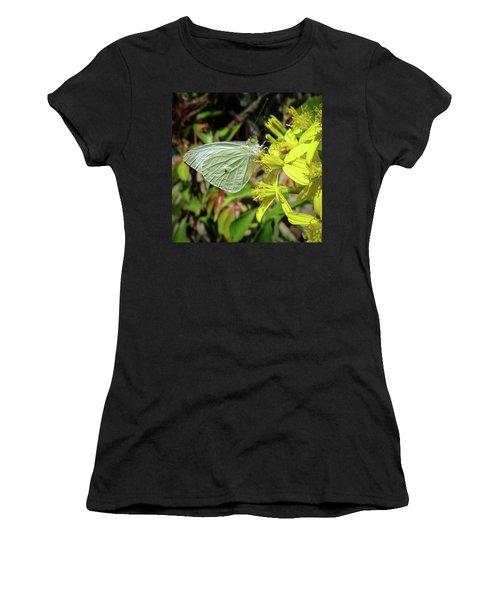 Butterfly Feasting On Yellow Flowers Women's T-Shirt