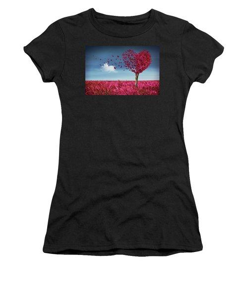 Butterfly Heart Tree Women's T-Shirt (Athletic Fit)