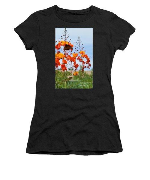 Butterfly On Bird Of Paradise Women's T-Shirt