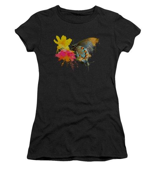 Butterfly On Lantana - Splatter Paint Tee Shirt Design Women's T-Shirt (Athletic Fit)