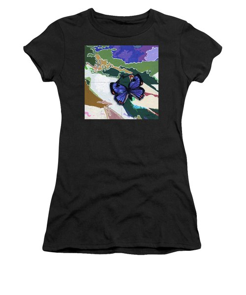 Butterfly Over Great Lakes Women's T-Shirt (Athletic Fit)
