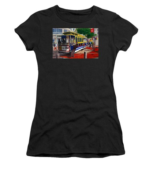 Cable Car Turntable At Powell And Market Sts. Women's T-Shirt (Junior Cut) by Mike Robles