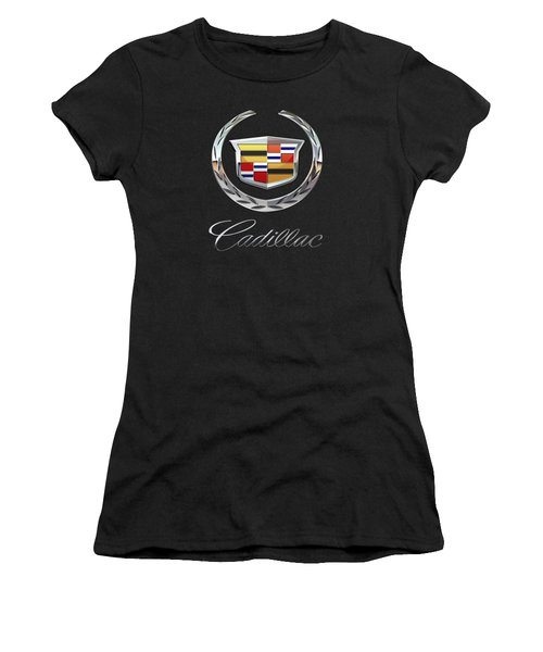 Cadillac - 3d Badge On Black Women's T-Shirt (Junior Cut) by Serge Averbukh