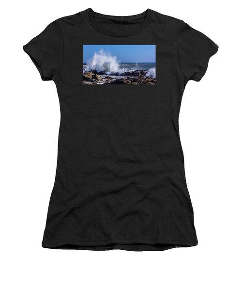 Wave Crashing On California Coast Women's T-Shirt (Athletic Fit)