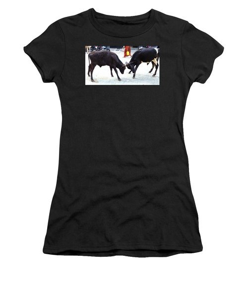 Calf Fighting Women's T-Shirt (Athletic Fit)