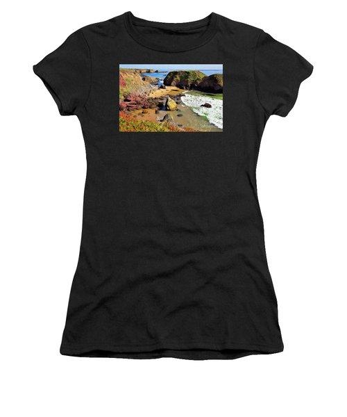 California Coast Rocks Cliffs Iceplant Ap Women's T-Shirt (Athletic Fit)