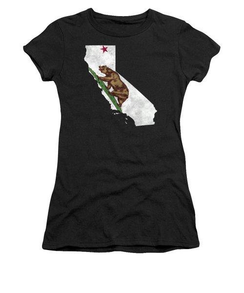 California Map Art With Flag Design Women's T-Shirt