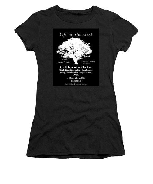 California Oak Trees - White Text Women's T-Shirt