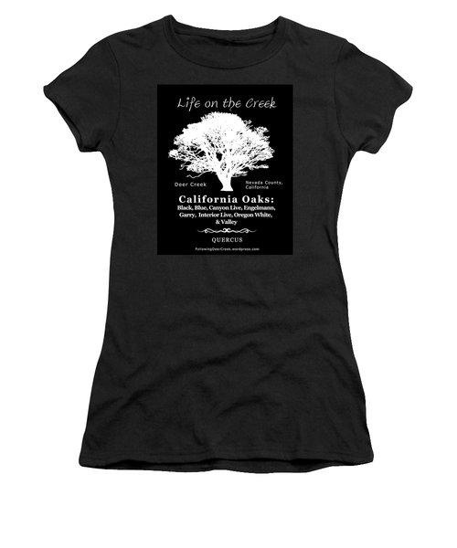 California Oak Trees - White Text Women's T-Shirt (Athletic Fit)