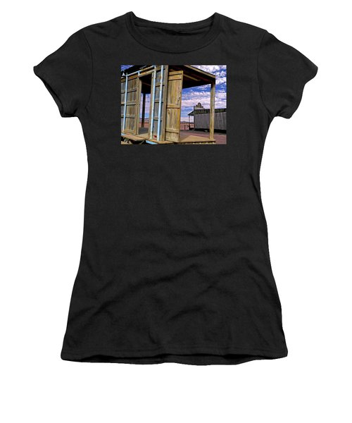 Women's T-Shirt (Athletic Fit) featuring the mixed media Call Of The Lost Saloon 3  by Lynda Lehmann