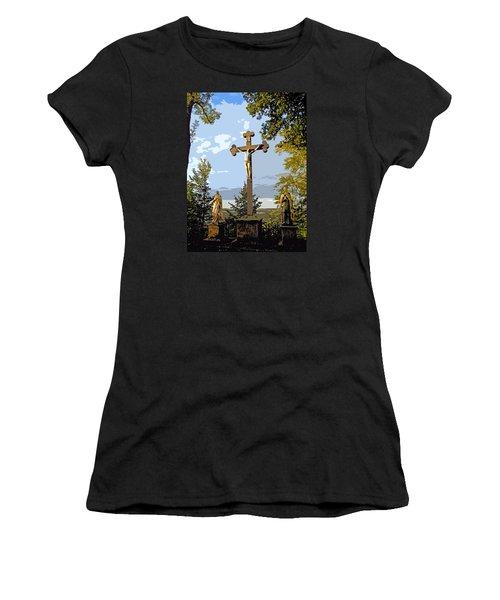 Women's T-Shirt (Junior Cut) featuring the photograph Calvary Group - Parkstein by Juergen Weiss