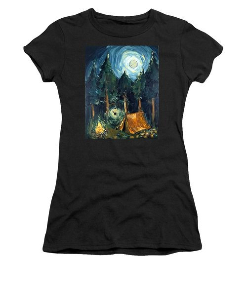 Women's T-Shirt featuring the painting Camp At Night by Maria Langgle