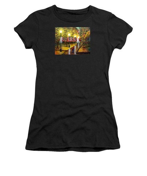 Women's T-Shirt (Junior Cut) featuring the painting Campus Rain by Chris Fraser