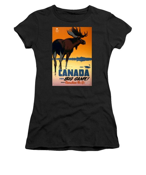 Canada Big Game Vintage Travel Poster Restored Women's T-Shirt (Athletic Fit)