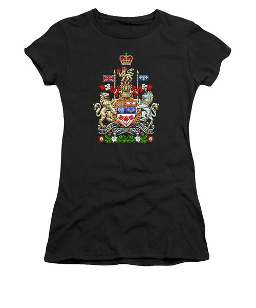 Canada Coat Of Arms Over Red Silk Women's T-Shirt