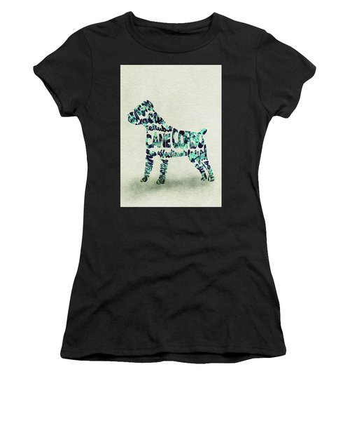 Cane Corso Watercolor Painting / Typographic Art Women's T-Shirt (Athletic Fit)