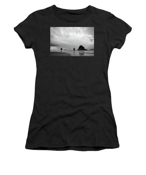 Cannon Beach In Black And White Women's T-Shirt
