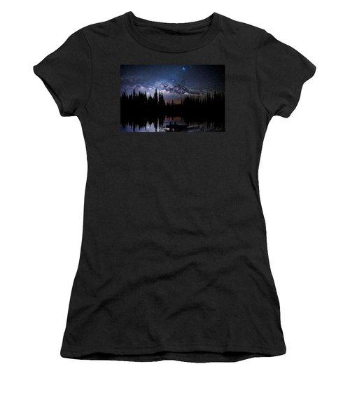 Canoeing - Milky Way - Night Scene Women's T-Shirt