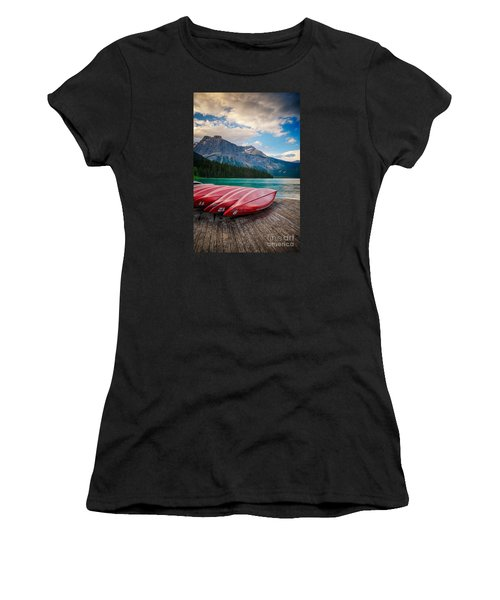 Canoes At Emerald Lake In Yoho National Park Women's T-Shirt