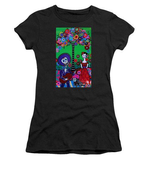 Women's T-Shirt (Athletic Fit) featuring the painting Serenata Especial Para Axl by Pristine Cartera Turkus