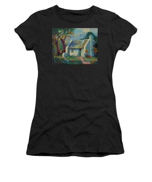 Cape Cottage With Mountains Art Bertram Poole Women's T-Shirt (Athletic Fit)