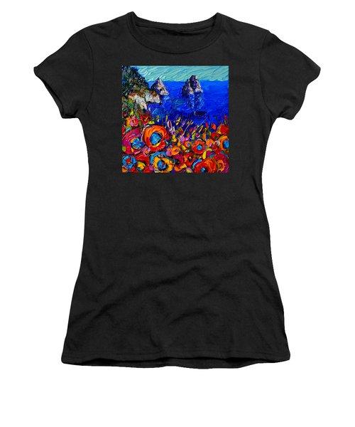 Capri Faraglioni Italy Colors Modern Impressionist Palette Knife Oil Painting By Ana Maria Edulescu  Women's T-Shirt