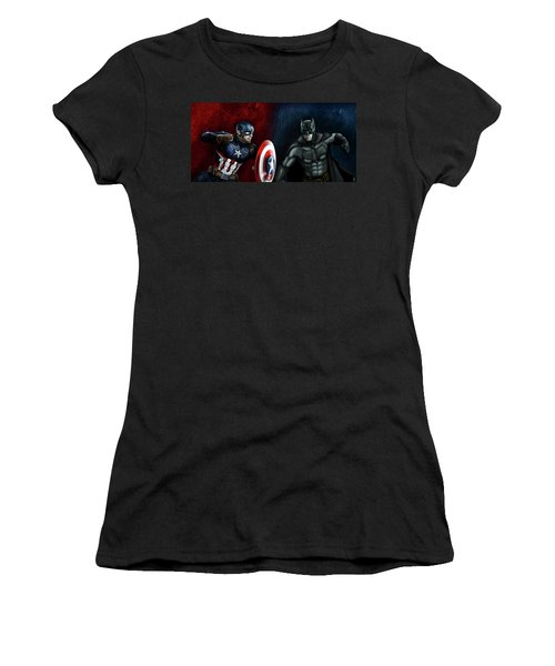 Captain America Vs Batman Women's T-Shirt (Athletic Fit)