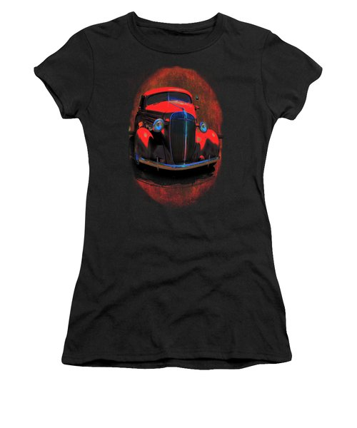 Car Art 0443 Red Oval Women's T-Shirt (Athletic Fit)