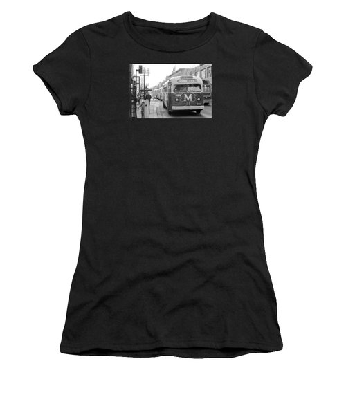 Women's T-Shirt featuring the photograph Caravan Of Buses On Nicollet Mall by Mike Evangelist