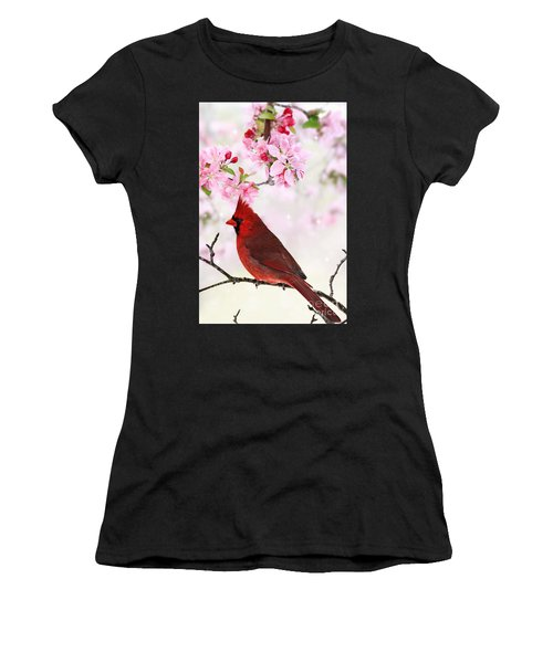 Cardinal Amid Spring Tree Blossoms Women's T-Shirt