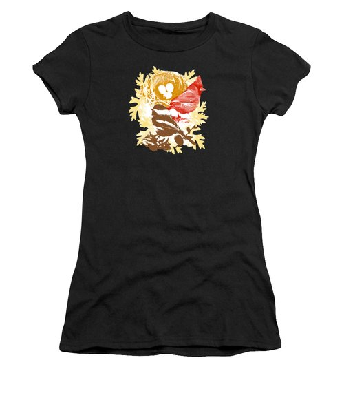 Cardinal Chickadee Birds Nest With Eggs Women's T-Shirt (Athletic Fit)
