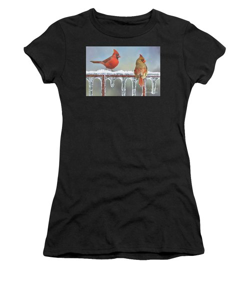 Cardinals And Icicles Women's T-Shirt (Athletic Fit)